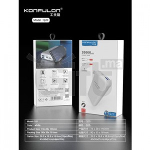 Konfulon QC 3.0 Power Bank 20000mAh, 3-port Output Portable Battery, White Power Bank, Gift Charger