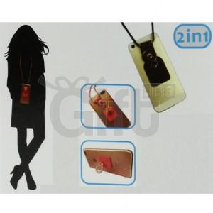 Collier de Téléphone Cellulaire Avec Support d'Anneau - 2 en 1