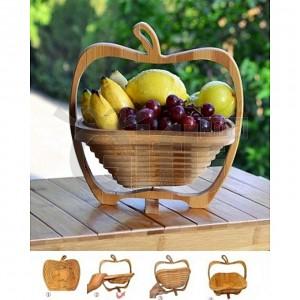 Panier à Fruits en Bois Décoratif Pliable & Dessous de Plat en forme De Pomme