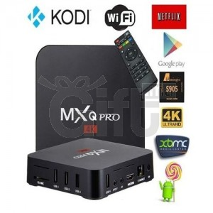 MXQ PRO Mini Android TV Box Smart TV Box sous Android 7.1 compatible 3D, 4K 1GB de RAM 4GB de mémoire de stockage