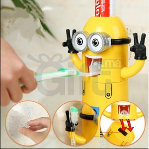 Distributeur De Dentifrice Minion et Porte Brosses à Dents
