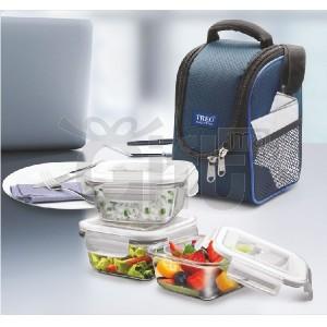 Sacs à Repas Pour Enfant et Adulte - Treo Health First Boîte à lunch en verre Tiffin avec 3 contenants (300 ml)