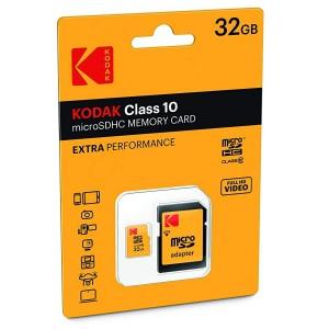 Carte mémoire Kodak Micro SDHC 32 Go + adaptateur - Classe 10
