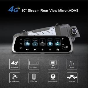Dashcam - Rétroviseur Voiture Avec Écran Tactile 10 pouces équipé de System Android + GPS + Wifi + Support Carte SIM + Bluetooth + Surveillance En Temps Réel & Caméra De Recul