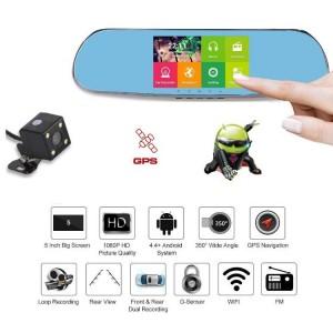 Dashcam - Rétroviseur Voiture Avec Écran Tactile Caméra Double Objectif Full HD 1080p GPS + DVR + Wifi + Caméra De Recul