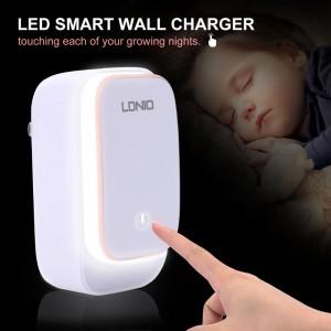 Chargeur Double USB Mural Avec LED Lumière - LDNIO A2205