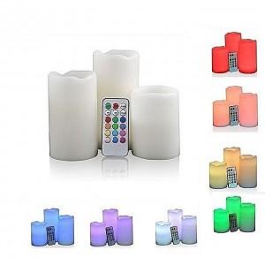 3 Bougies Lumineux avec télécommande pour les couleurs - Luma Candles