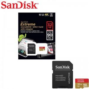 Carte Mémoire Sandisk Ultra Micro SD 32 Go - Classe 3 - Vitesse de lecture Allant jusqu'à 90 Mo/s + Adaptateur SD