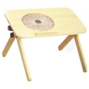 Table en Bois Avec Ventilateur d'Ordinateur Portable