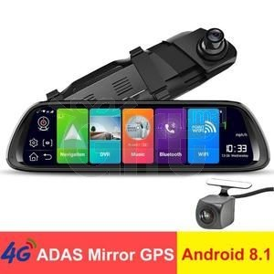 Dashcam 4G - Rétroviseur Voiture Avec Écran Tactile 10 pouces équipé de System Android + GPS + Wifi + Support Carte SIM + Bluetooth + Surveillance En Temps Réel & Caméra De Recul