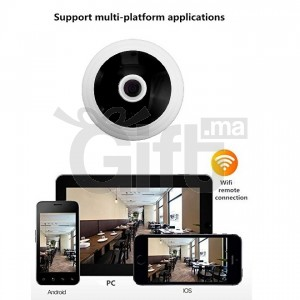 Caméra Plafond 360 Degrés Sans Fil Wifi Avec Accès par Smartphone + Vision Nuit D'intérieur et Extérieurs