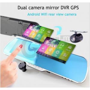 Dashcam - Rétroviseur Voiture avec écran tactile caméra double objectif Full HD 1080p DVR WIFI  + Caméra arrière