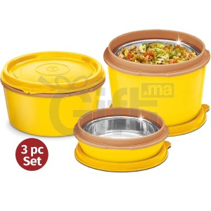 Lunch Box - Milton Flexi Tiffin 2+1, INSULATED TIFFIN - 3 Containers 200, 350 & 500 Ml