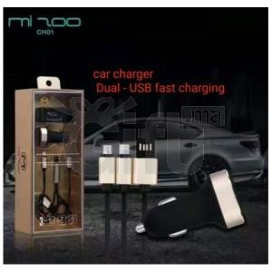 Mizoo - Adaptateur Pour Allume Cigare 2 Port USB + Support Mobile & Cable de Charge - 3 pièces