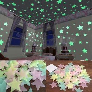 100pcs Etoiles Lumineuses Autocollant Maison Chambre d'Enfant Déco Mural sticker