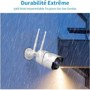 Caméra IP WiFi Extérieur HD 1080P Grand Angle à 80°, P2P, Vision Nocturne de 30 m, Étanche IP66, Carte SD jusqu'à 128Go