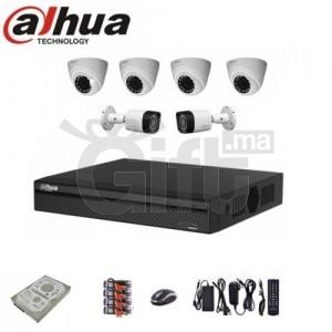 KIT Complet De Vidéo Surveillance DAHUA : 4 Caméras d'Intérieur + 2 Caméras Étanche d'Extérieur HD + DVR + Disque Dur + Accessoires