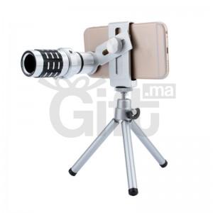 Lentille optique kits caméra télescope lentille caméra lentille 12x zoom + montage trépied pour iphone pour samsung android téléphone universel