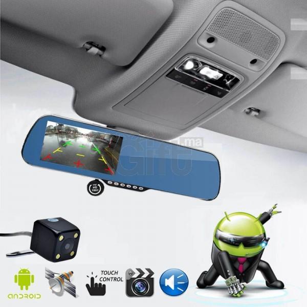 Full HD 1080p voiture avec écran tactile caméra double objectif DVR WIFI Rétroviseur + Caméra arrière sans carte