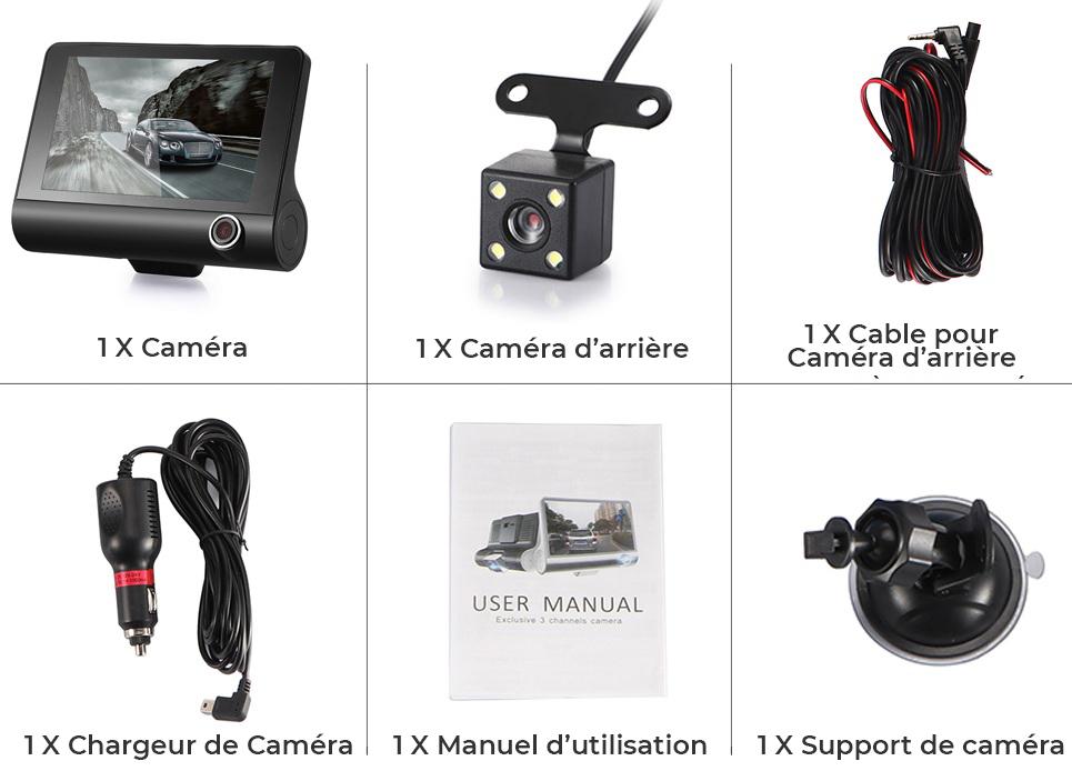 3 objectif voiture caméscope DVR Dash Cam intérieur avant arrière en ligne au Maroc chez Gift.ma a très bas prix