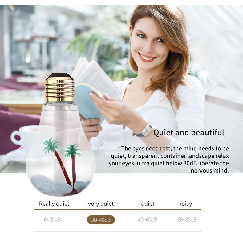 umidificateur D'air Purificateur D'air Ultrasonique Couleurs Changeante en Forme D'ampoule