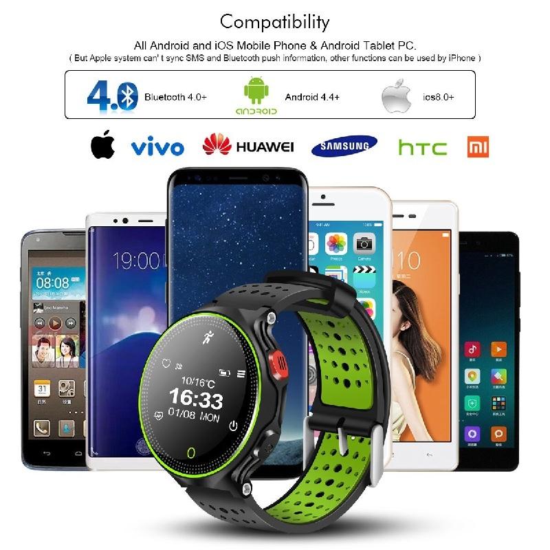 Bracelet Connecté,QIMAOO Écran Tactile Smartwatch IP68 Impermeable à Eau Fitness Tracker avec Fonctions Fréquence Cardiaque/Tension Artérielle/Oxygène/Podomètre/Suivi de Sommeil/Notification de Messages Compatible pour Andorid 4.4 et IOS 8.0 Smartphone(X2,Noir+Vert)