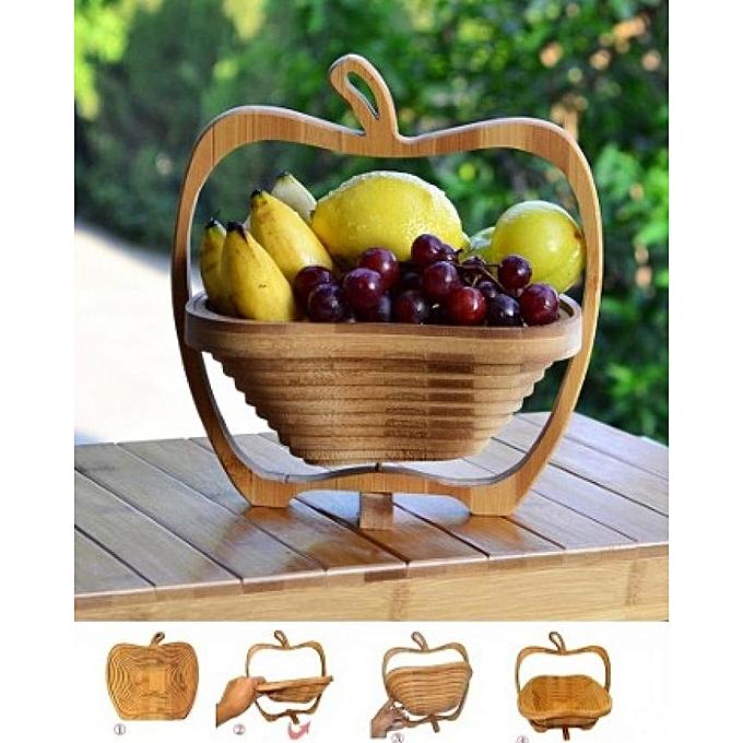 Corbeille à Fruits en Bois Décoratif Pliable Chez Gift.Ma Boutique des cadeaux aux meilleurs prix en ligne au Maroc