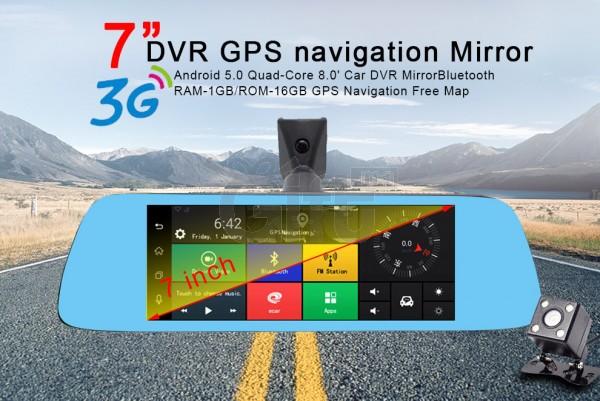 Dashcam - Rétroviseur Voiture Avec Écran Tactile 7 pouces équipé de System Android GPS Wifi 3G Bluetooth Caméra De Recul