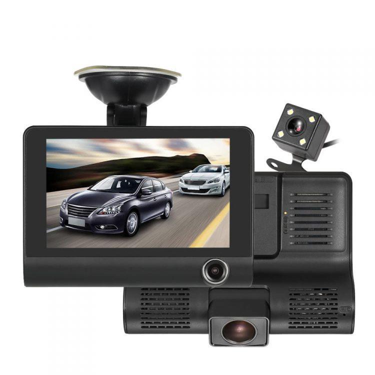 Chez Gift.Ma Boutique des cadeaux aux meilleurs prix en ligne au Maroc  Dashcam Triple OBJECTIF DE VOITURE - Caméra Avant + Caméra Intérieure et Caméra Recul