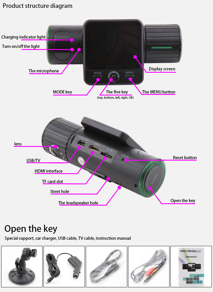 Mini DashCam - F6000 Camera Can rotate 270 Degrees Full HD 1080P