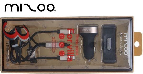 Mizoo - Adaptateur Pour Allume Cigare 2 Port USB + Support Mobile & Cable de Charge - 3 pièces Au Maroc Chez Gift.Ma