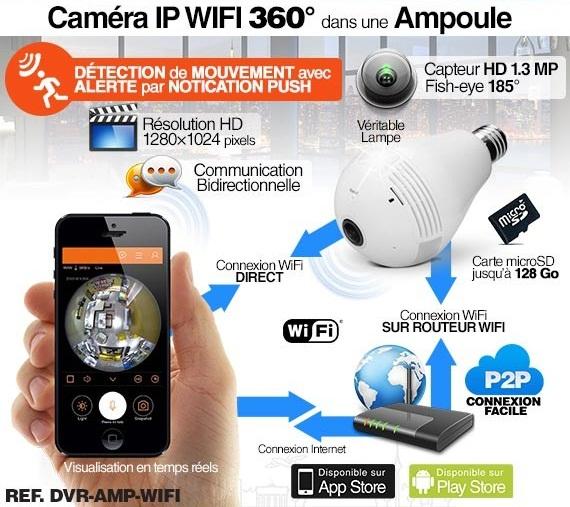 Chez Gift.Ma Boutique des cadeaux aux meilleurs prix en ligne au Maroc Ampoule - Caméra Espion - Wifi HD Panoramique 360° Avec Accès par Smartphone