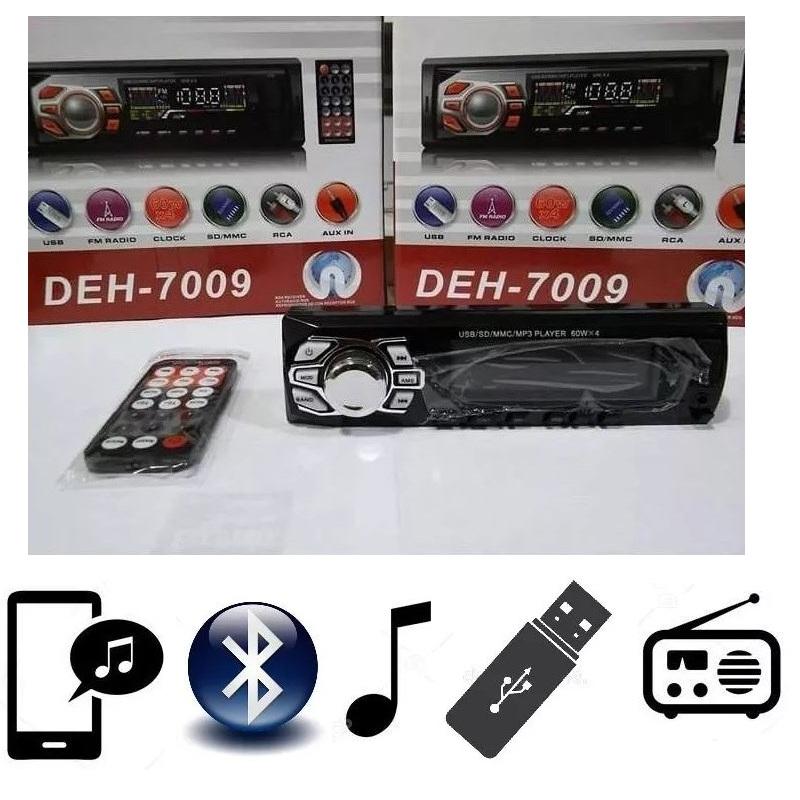 Poste Radio - Autoradio Stéréo Voiture Bluetooth FM MP3 Slot USB SD AUX DEH-7009 Avec Télécommande Chez Gift.Ma  aux meilleurs prix en ligne au Maroc