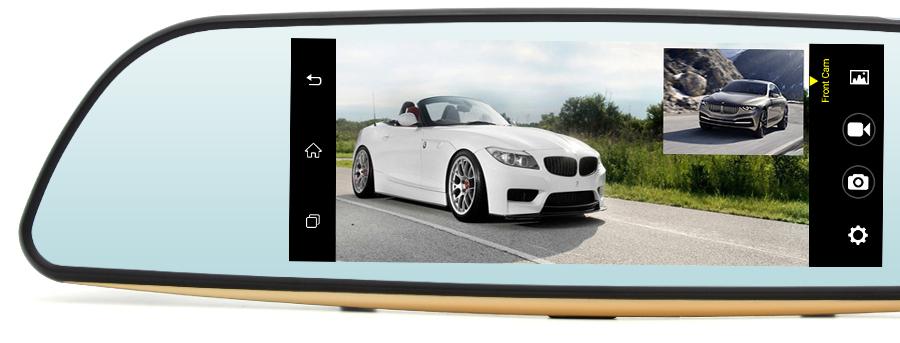 Dashcam - Rétroviseur Voiture Avec Écran Tactile 7 pouces équipé de System Android + GPS + Wifi + Bluetooth + 4G + Surveillance En Temps Réel & Caméra De Recul