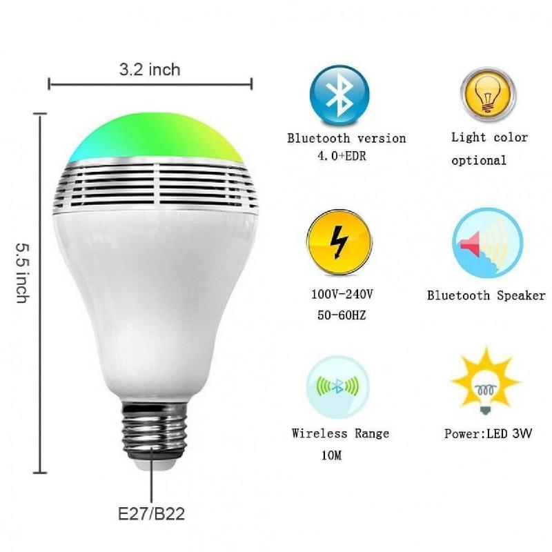 Smart Parleur Fil Haut Lampe Led Ampoule Bluetooth Avec Sans E27 Base vm8Nn0w