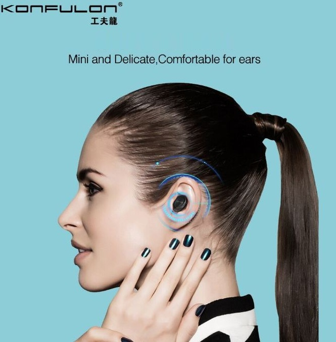 Mini In-ear Wireless Bluetooth Headset USB Magnetically Charged Sport Headphone White