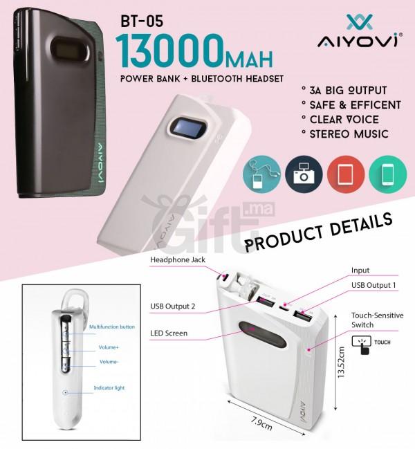 AIYOVI BT-05 POWER BANK AVEC 4.0 BLUETOOTH (13000MAH)Chez Gift.Ma Boutique des cadeaux aux meilleurs prix en ligne au Maroc