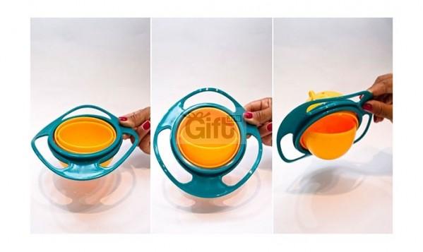 BOL POUR BÉBÉ Ce bol incroyable est exactement ce qui vous faut. C'est à la fois amusant et fonctionnel. Le bol intérieur tourne à 360 degrés et ne se renversera pas, même si vous le mettez sur le côté ou complètement à l'envers.