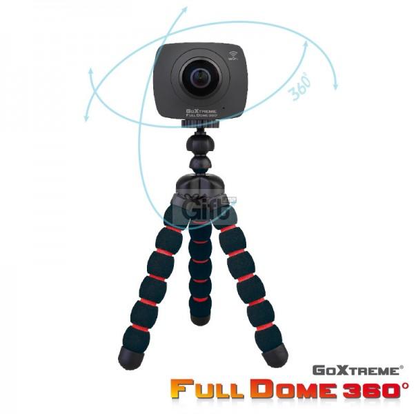 Caméra /photo GoXtreme Full Dome 360° Caméra  360° panoramique et enregistrement vidéo, vous êtes vraiment au centre de l'action. Doté d'une lentille (2x 4MP, 2x 220º) capturant des vidéos et des images à 360º, le GoXtreme Full Dome 360º vous permet de revivre et de partager vos moments préférés comme jamais auparavant, avec des photos vivantes et immersives et des vidéos de haute qualité.