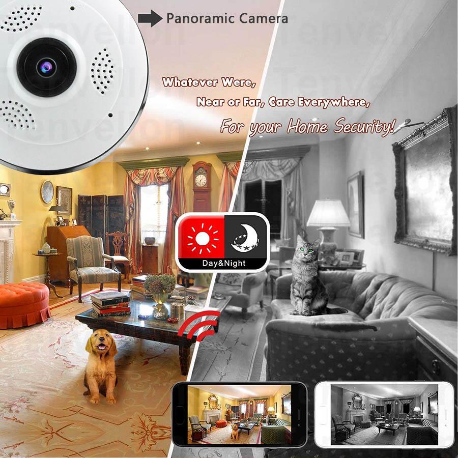 Caméra IP WiFi Sans Fil Smart Caméra de Sécurité Idéal pour surveiller Une Maison, Un Entrepôt, Un Commerce camera plafond_V380s_360_degr_s_sans_fil_wifi_ufo-style_fish-eye_panoramique Chez Gift