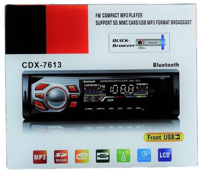 Chez Gift.Ma Boutique des cadeaux aux meilleurs prix en ligne au Maroc Autoradio Stéréo Bluetooth Voiture FM MP3 Slot USB SD AUX - CDX-7613 Avec Télécommande