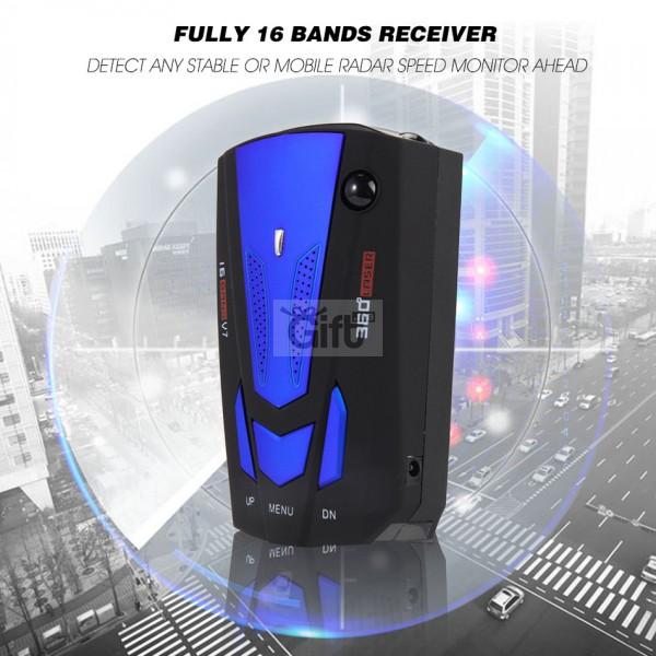 Detecteur de radar 16 Band V7 GP Voice Alert Laser LEDPour détecter n'importe quel radar radar stable ou mobile 250-2500m devant